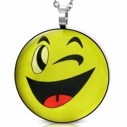 Pendentif homme smiley clin d'oeil