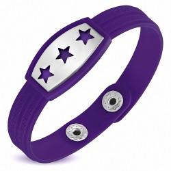 Bracelet homme watch caoutchouc violet trois étoiles