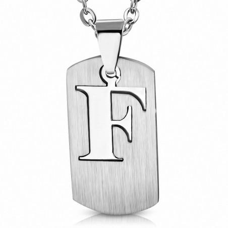 Pendentif homme plaque lettre F