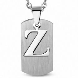 Pendentif homme plaque lettre Z