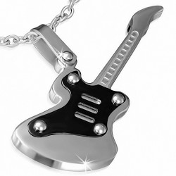 Pendentif homme guitare électrique argentée et noire