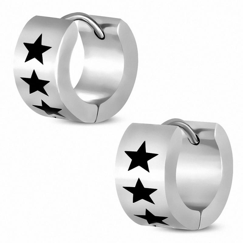 Boucles d'oreilles pour homme en acier étoiles noires
